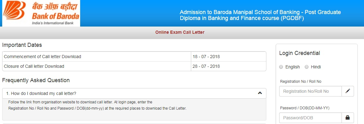 BOB-PO-2018- ADMIT CARD - RELEASED