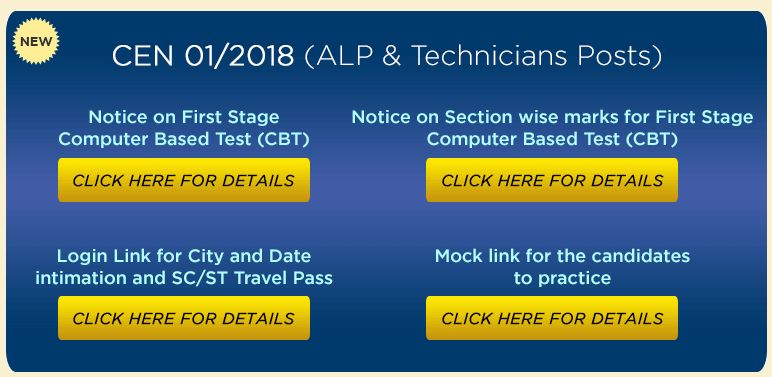 Railways RRB ALP Exam Dates , Sectionwise marks & MOCK TEST Links Activated