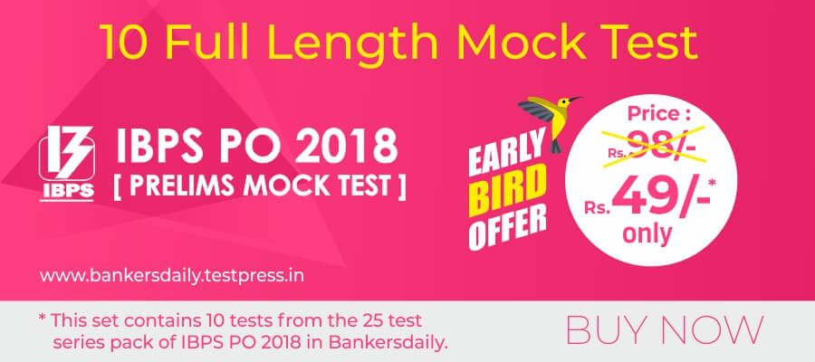 10 IBPS PO Prelims Exam 2018 - 10 Online Full Length Mock Test Series - Bankersdaily - Buy Now