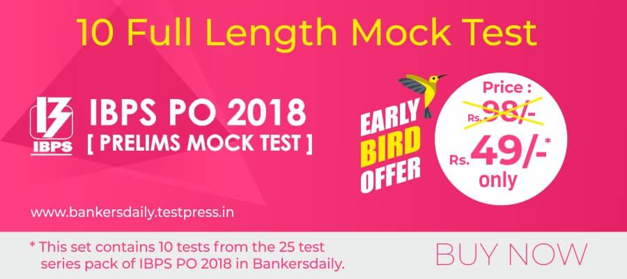 10 IBPS PO Prelims Exam 2018 - 10 Online Full Length Mock Test Series - Bankersdaily - Buy Now