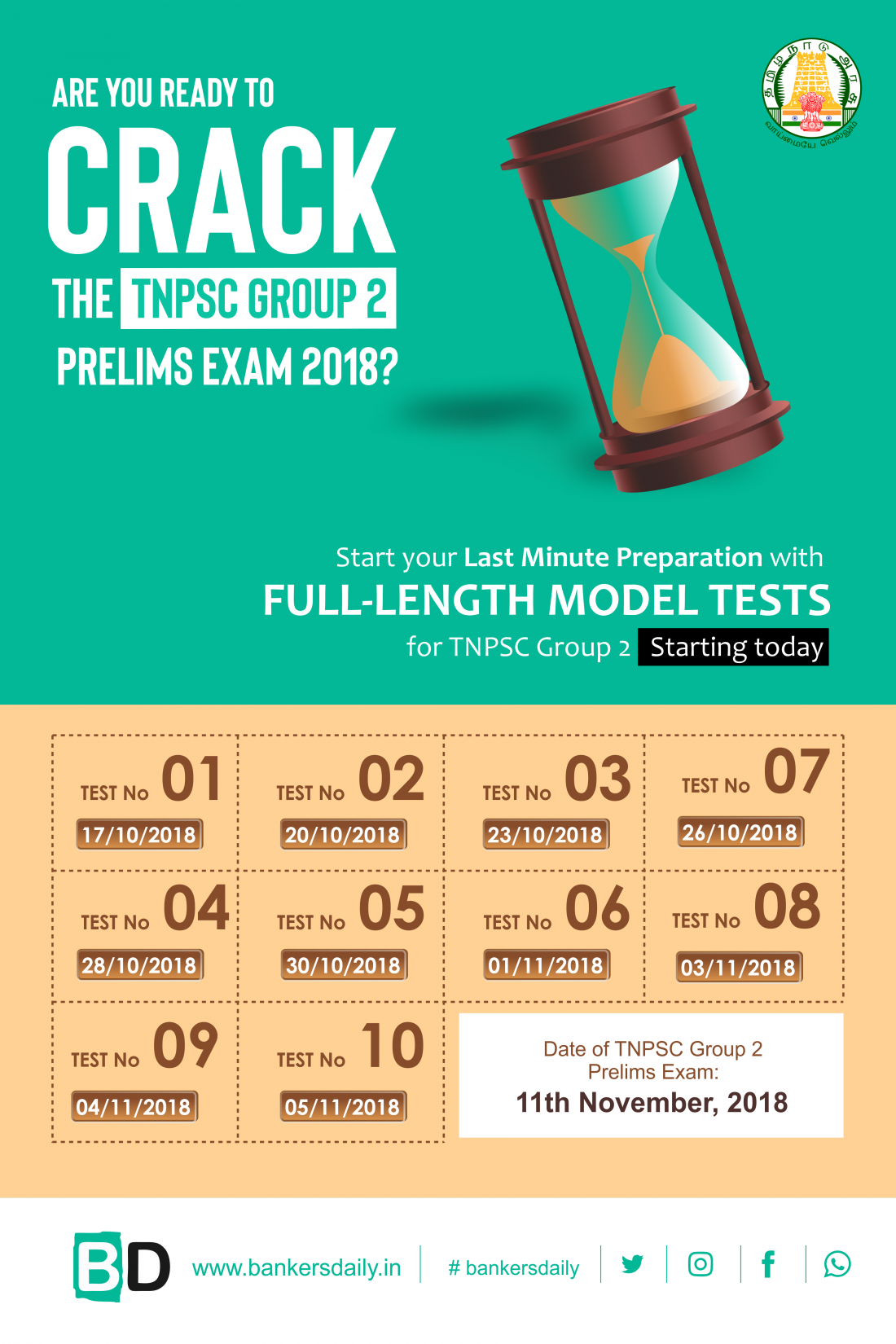 10 FULL LENGTH MOCK TEST for TNPSC GROUP 2 Prelims Exam 2018 - Bankersdaily