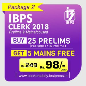 IBPS CLERK Prelims Exam 2018 - Online Test Series Package - Bankersdaily