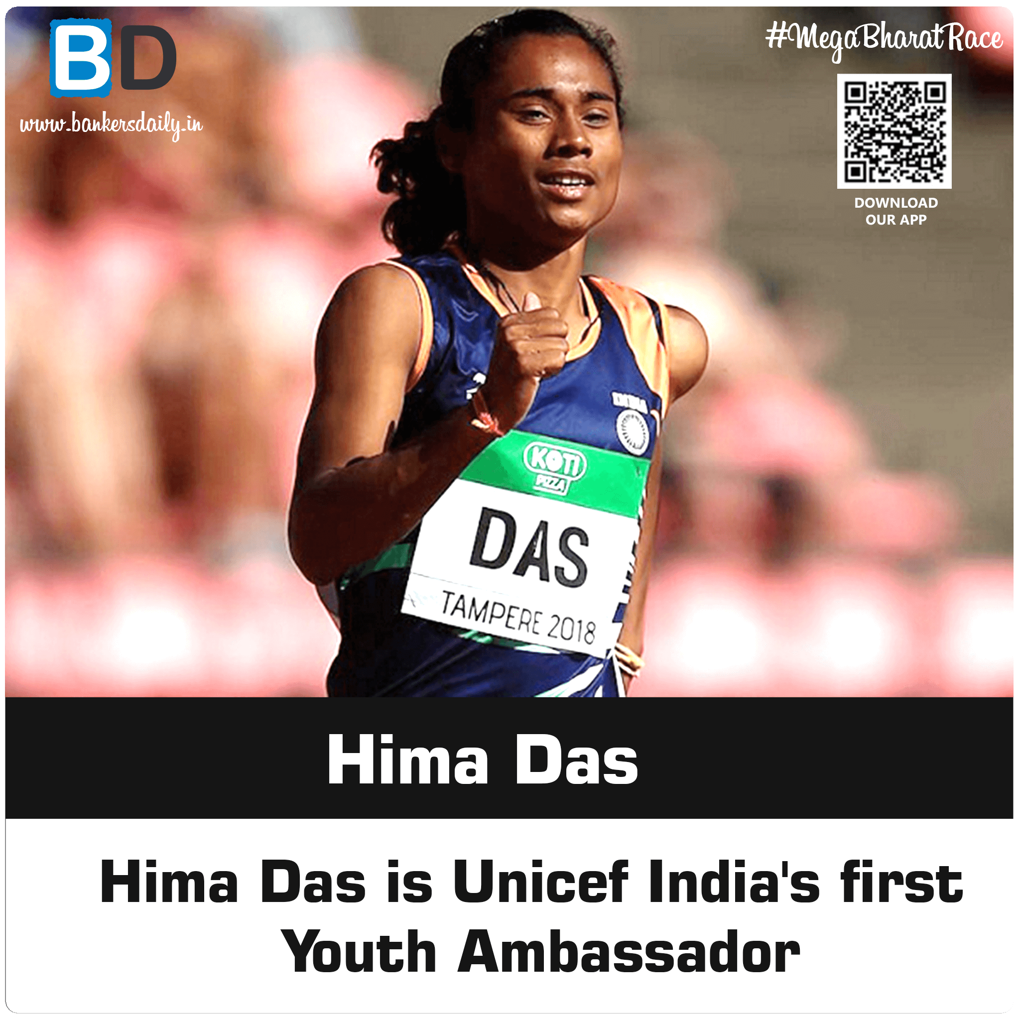 Athlete Hima Das Named UNICEF India's First Youth Ambassador - Bankersdaily