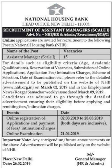 National Housing Bank - Assistant Manager Recruitment 2019: 15 Vacancies