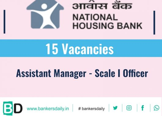 National Housing Bank - Assistant Manager Recruitment 2019 : 15 Vacancies