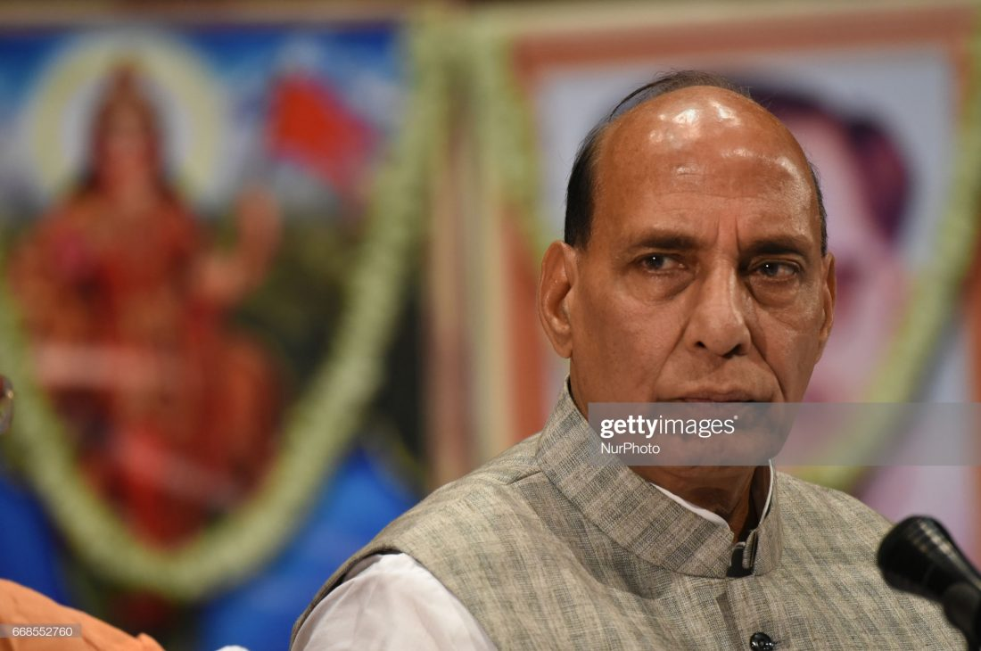Mr. Rajnath Singh Indian Union Minister of Home Affairs and Indian ruling political party Bharatiya Janata Party senior leader meet the press after her Party Workers Internal Meeting for new plan coming Bengal Panchayat Election on April 14,2017 in Kolkata,India.