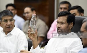 NEW DELHI, INDIA - SEPTEMBER 9: Union Minister of Consumer Affairs, Food and Public Distribution Ram Vilas Paswan addresses a meeting with various stakeholders on Replacing single use plastic bottles for drinking water with suitable alternatives, at Krishi Bhavan on September 9, 2019 in New Delhi, India.