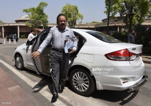 NEW DELHI, INDIA - APRIL 25: Minister of Science and Technology Harsh Vardhan arrives to attend the first day of the second half of the budget session at the Parliament House, on April 25, 2016 in New Delhi, India. Rajya Sabha adjourned till Tuesday after uproar by the opposition over the Uttarakhand issue. Opposition raised slogans of 'Loktantra ki hatya bandh karo' (Stop the murder of democracy) in the House. The issue of imposition of President's rule in Uttarakhand today echoed in Parliament with Congress members in both Houses storming the Well and party leader Mallikarjun Kharge staging a dharna in the Lok Sabha.