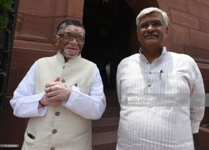 NEW DELHI, INDIA - JUNE 21: Minister of state for labour and employment Santosh Kumar Gangwar and Union Jal Shakti minister Gajendra Singh Shekhawat leaves after attending the Budget session of Parliament on June 21, 2019 in New Delhi, India.