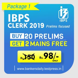 IBPS CLERK Prelims 2019 - Online Mock Test Series - Package 1 - bankersdaily.in