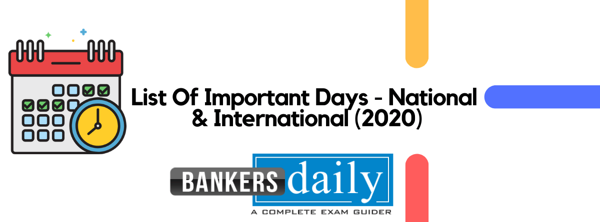 List of Important Days & Dates with Themes - 2020 : National & International