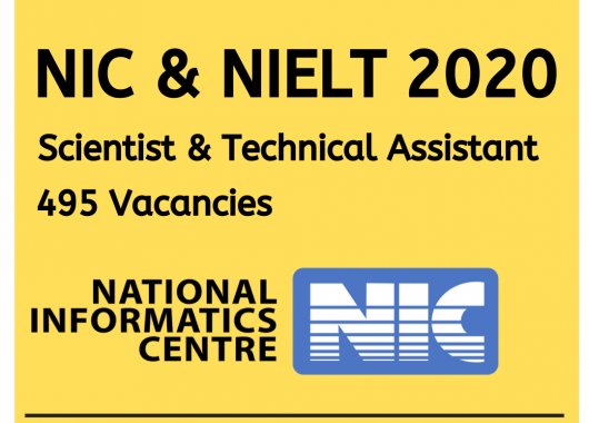 NIC & NIELIT Calicut - Scientists & Technical Assistant Recruitment 2020 : 495 Vacancies