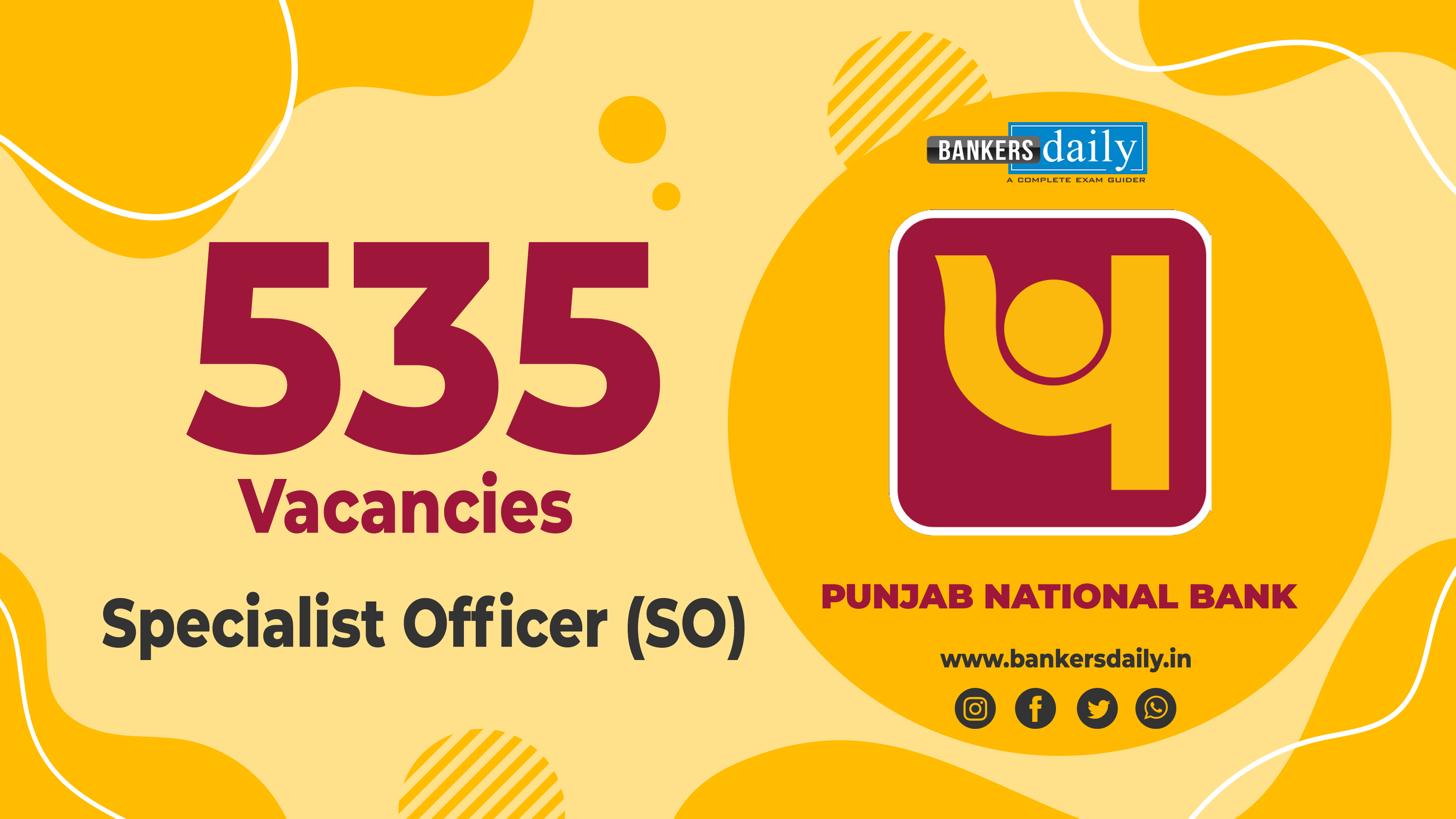Punjab National Bank Specialist Officer (SO) Recruitment 2020 - 535 Vacancies - Check Now
