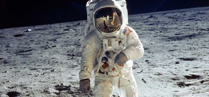 Apollo 11 astronaut buzz aldrin standing on moon with astronaut neil armstrong