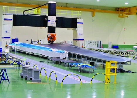 Thinking straight: in a first for Airbus, the A350 wings will be assembled horizontally rather