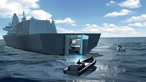 Pushing the boat out: a 'mission bay' at the aft end of the Type 26 ships will allow them to launch small boats and autonomous vehicles