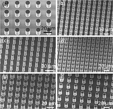 Scanning electron micrographs (SEMs) of the silicon microstructured surfaces for the boiling experiments. The dimensions of the micropillars are well-defined to allow systematic studies of surface roughness effects on critical heat flux (CHF).  Image: Kua