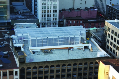 An aerial view of the Vancouver vertical farm