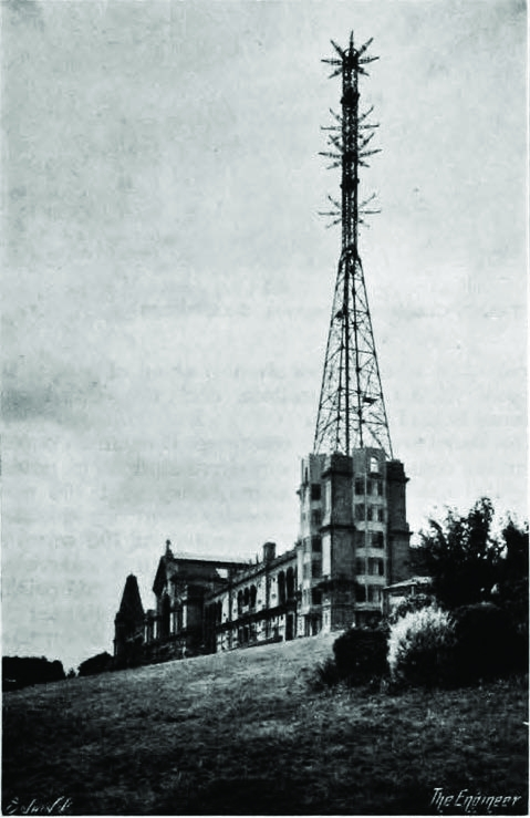 The mast, which carried aerials for both the Marconi and J L Baird systems, was 300ft above the ground at its highest point