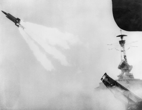 The firing of the first test missile from trials ship HMS Girdle Ness