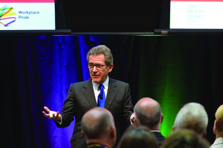 Lord Browne speaking to the Workplace Pride conference
