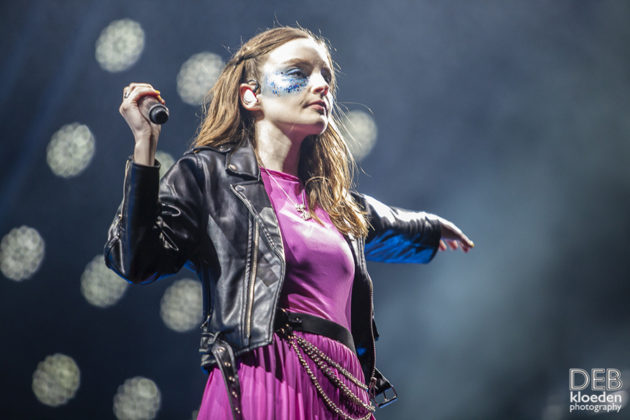 Picture of Chvrches in concert atthe Splendour in the Grass festival by Australia music photographer Deb Kloeden