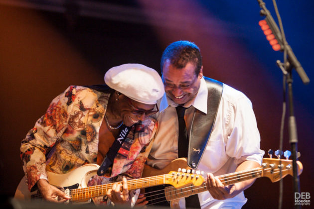 Pictures of Chic and Nile Rodgers at The Byron Bay Bluesfest by Australia music photographer Deb Kloeden