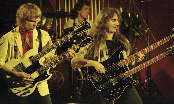 Picture of Rush in concert by analog music concert photographer Bill O'Leary
