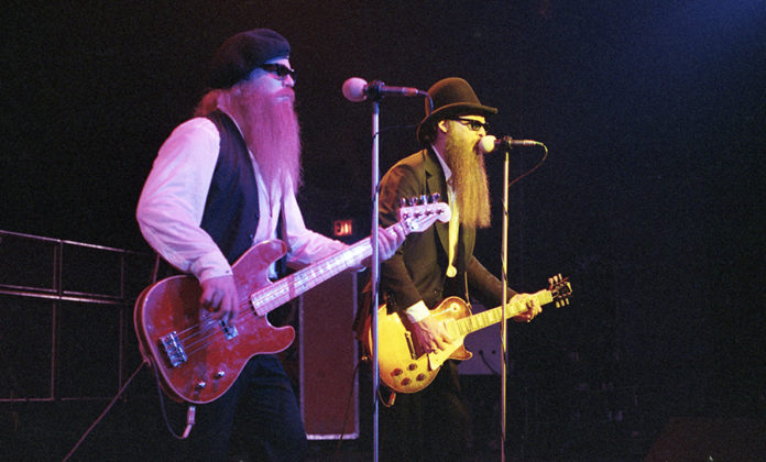 Picture of ZZ Top in concert taken by photographer Bill O'Leary