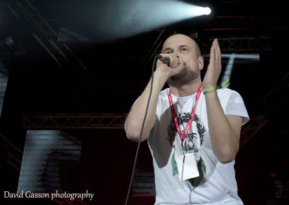 Picture of the hip hop rapper Vojko Vrućina in concert at the Sea Star festival taken by gig photographer David Gasson