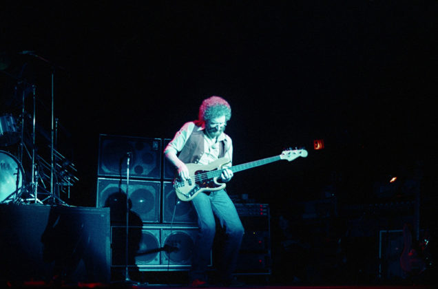 Picture of the rock guitarist Jeff Beck in concert taken in analog in 1980 by music photographer Bill O'Leary