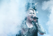 Picture of the heavy metal group Battle Beast in concert with photography by Oskari Mäkisarka
