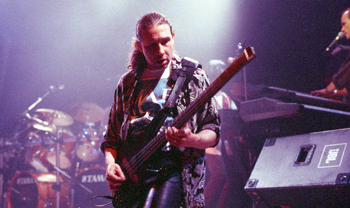 Picture of the rock band Marillion in concert in 1992. Taken in analog by Bill O'Leary