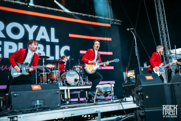Picture of the Swedish rock band Royal Republic in concert taken by Stan Srebar