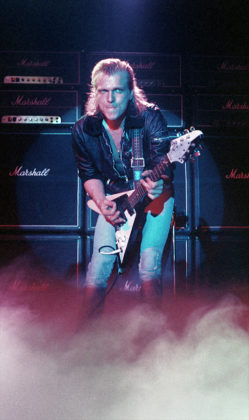 Picture of the rock band Michael Schenker Group in concert taken in analog at 1980 and 1984 concerts by Bill O'Leary