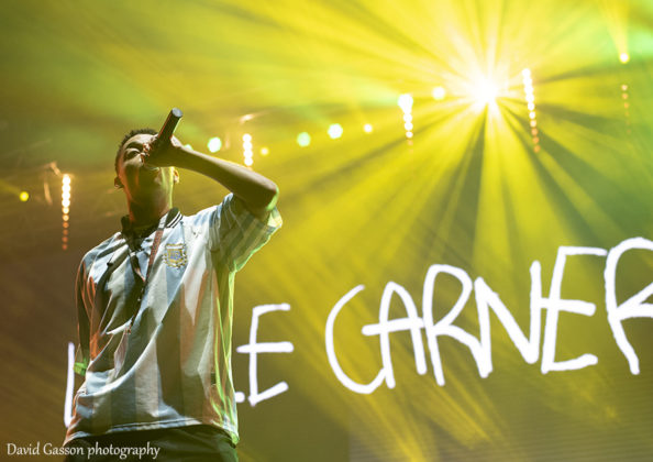 Picture of the hip hop singer Loyle Carner in concert taken by David Gasson