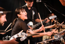 Picture of the drum rock band DQS in concert by Aki Fujita Taguchi