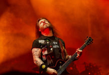 Picture of the thrash metal band Slayer in concert taken by Lennart Håård