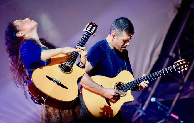 Picture of Rodrigo Y Gabriela in concert taken by Dianne Brooks