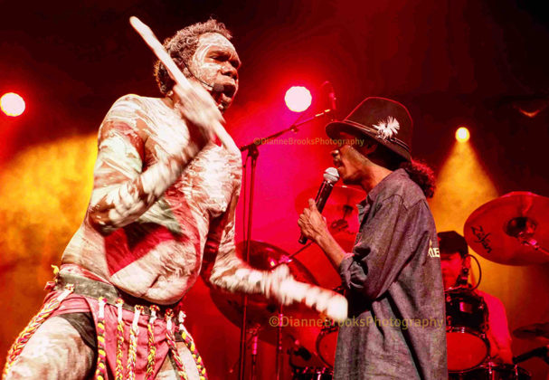 Picture of Yothu Yindi in concert taken by Dianne Brooks
