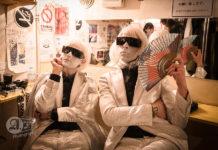 Picture of Drab Majesty in concert taken by Aki Fujita Taguchi