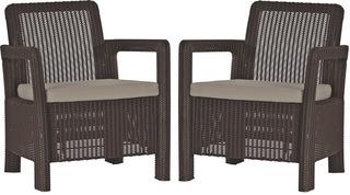 TARIFA 2x chairs hnědé+šedohnědé podušky