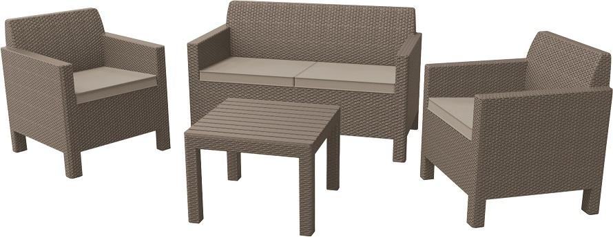 ORLANDO + SMALL TABLE - cappuchino+pískové podušky