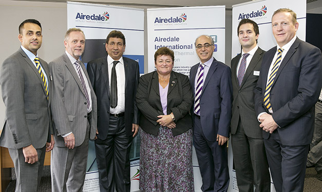 At the official launch: (l to r) Asim Ansari (export sales manager, Airedale), Clive Parkman (Airedale md),  Sanaullah Abdul Rahman, (md, Gulf Lights Electrical Engineering),  Karen Williams (UKTI), Imad Moghrabi (general manager, Al Mazroui Advanced Technology),  Andrew Walker (Airedale Middle East regional manager),  Mark Viner (Airedale commercial director).