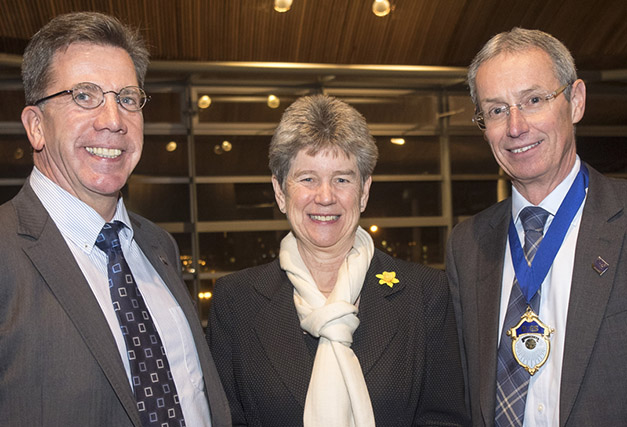 B&ES Wales chairman Mike McDonald (left) with Jane Hutt AM and B&ES president Bruce Bisset at the recent launch
