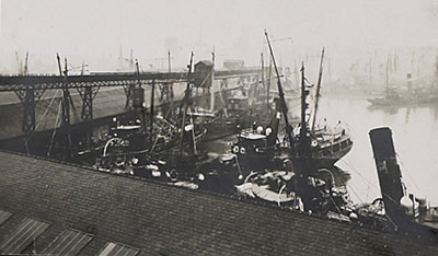 View of fish dock taken from roof of engine room showing gravity runway