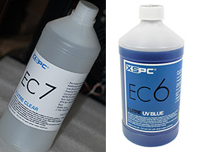 The counterfeit coolant (left) and XSPC's EC6 (right)