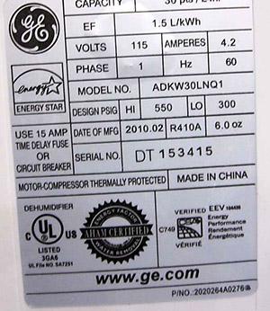 label of GE MideLARGE