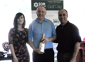 Steve Collins of Project Refrigeration, winner of the Island Challenge, with Becky Treece-Birch and Paul Cable