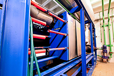 Refrigeration equipment in the basement of the Meistersingerhalle